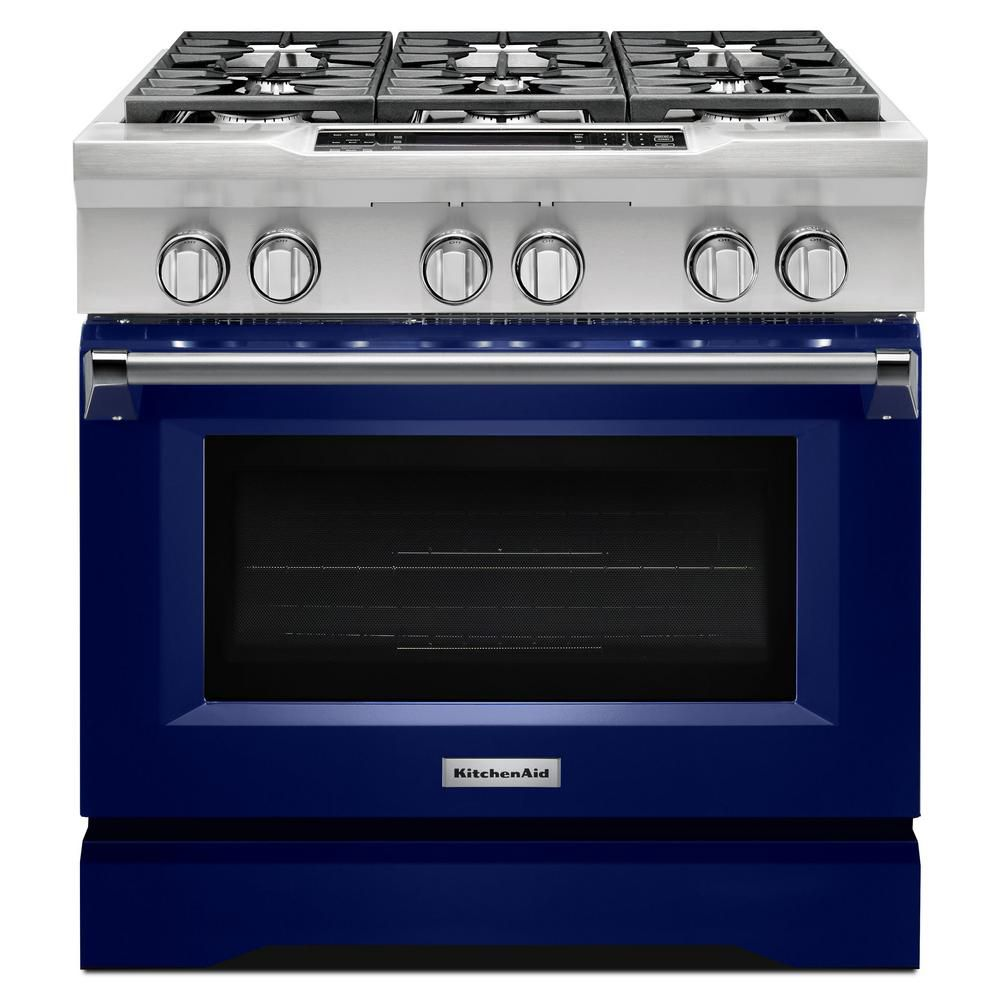 KitchenAid 36-inch 5.1 cu. ft. Single Oven Dual Fuel Range with Self-Cleaning Convection Oven in Cobalt Blue