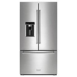 Réfrigérateur à porte française de 36 po W 23,8 pi3 en acier inoxydable PrintShield, profondeur du comptoir.
