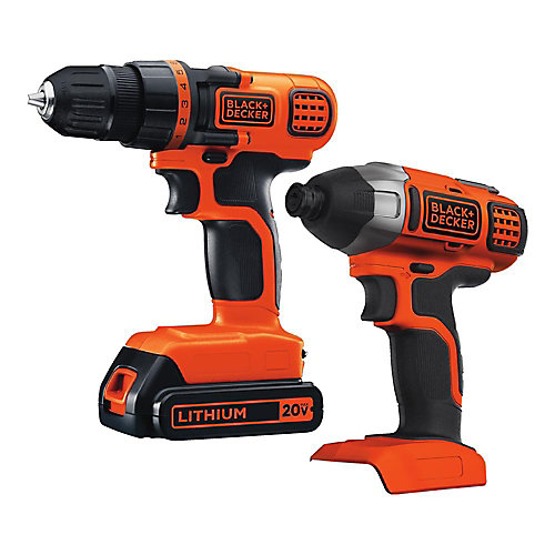 20V MAX Li-Ion Cordless Drill/Driver and Impact Driver Combo Kit (2-Tool) w/ Battery 1.5Ah and Charger
