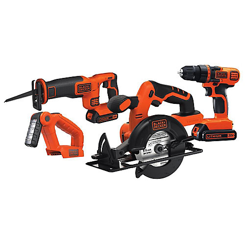 20V MAX Lithium-Ion Cordless Combo Kit (4-Tool) with (2) Batteries 1.5Ah and Charger