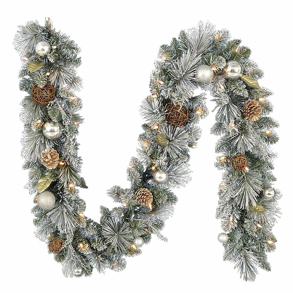 Guirlande de Noël artificielle Fairbanks garnie de lumières, 9 pi