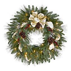 30-inch LED Pre-Lit Festive Tidings Wreath