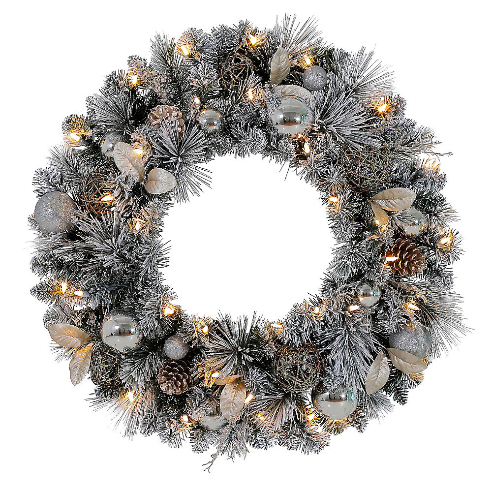 30-inch LED Pre-Lit Meadow Frost Wreath