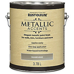 Rust-Oleum Metallic Accents Water Based Metallic Finish In Champagne, 3.7 L