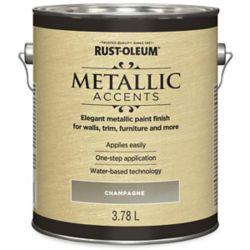 Rust-Oleum Accents Métalliques Fini Métallique à base d'eau en Champagne, 3.7 L