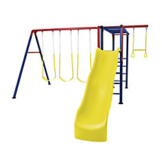 Monkey Bar Adventure Swing Set with Trapeze, Rings, Pole, and Slide