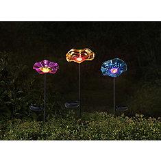 Ensemble de 3 pots de fleurs de jardin de 27 po avec LED solaire