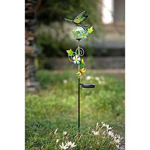 43 Inch Glass And Metal Dragonfly Garden Stake With Solar LED