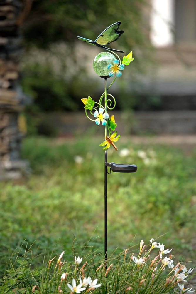 Sunjoy 43 Inch Glass And Metal Dragonfly Garden Stake With Solar LED
