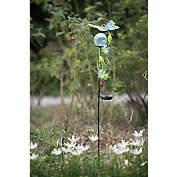 Sunjoy 43 Inch Glass And Metal Butterfly Garden Stake With Solar LED