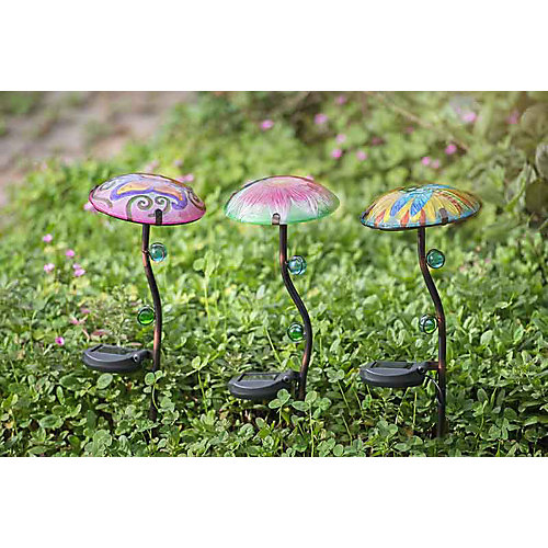 Set of 3 Mushroom Garden Stakes With Solar LED,