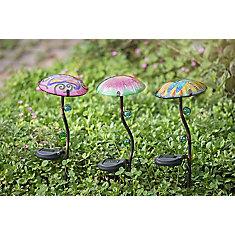 Pieu de jardin de champignons avec LED Solar, motif de paon