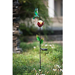 Sunjoy Flower Garden Garden Stake With Solar LED, 35 Inch, (Set of 2)