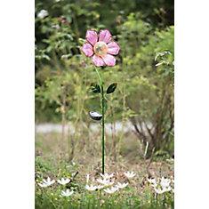 Siège de jardin fleur rose en verre avec LED solaire