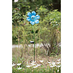 Verre Blue Flower Garden Stake w / LED Solar