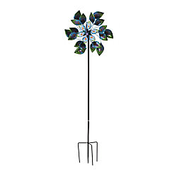 Sunjoy 84-inch Peacock Glass And Metal Kinetic Spinner