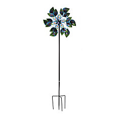 84-inch Peacock Glass And Metal Kinetic Spinner