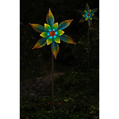 69-inch Glass and Metal Garden Stake in Multi-Colour