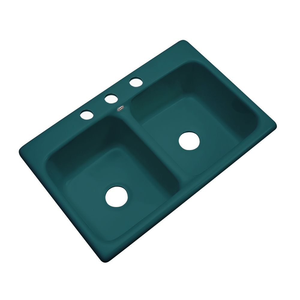 Newport 33 Inch Double Bowl Teal Kitchen Sink