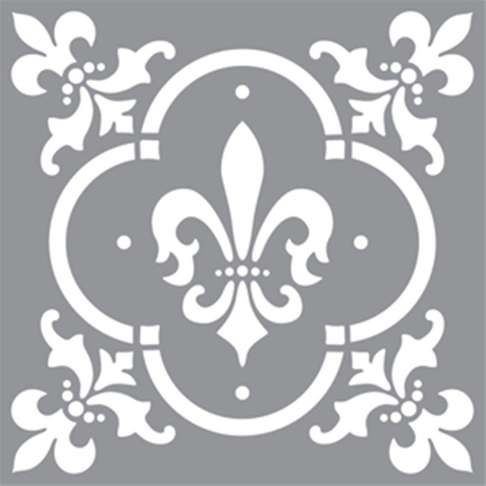 DecoArt Stencil 12 inch x 12 inch Fleur de de Lis Tile