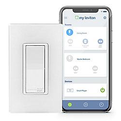 Leviton Interrupteur à technologie Wi-Fi en blanc (Plaque vendue séparément)