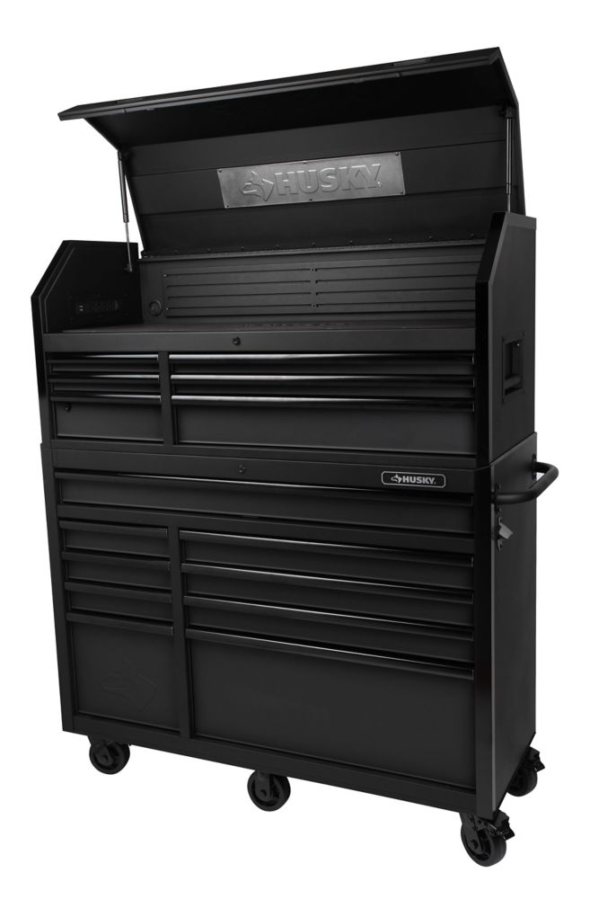HUSKY 52-inch W 20-inch D 15-Drawer Tool Chest and Cabinet, Textured Black