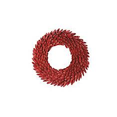 Couronne de coquillages rouges pailletés, 22 po