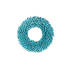 22-inch Turquoise Shell Wreath with Silver Metallic Balls