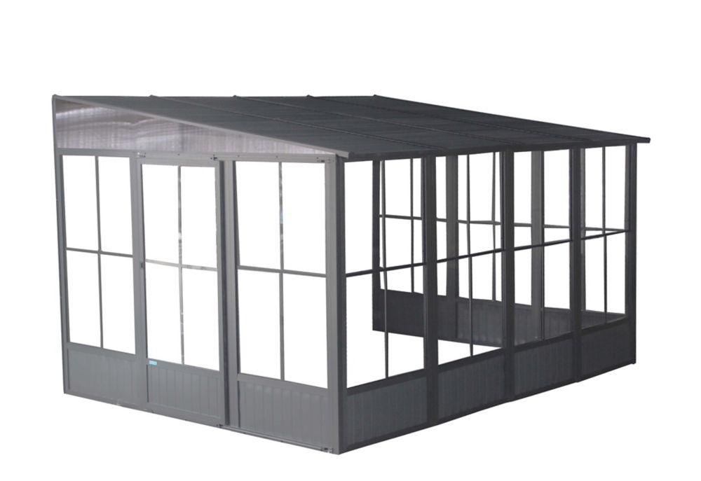Sojag Korado 10 ft. x 13 ft. Wall-Mounted Solarium in Charcoal