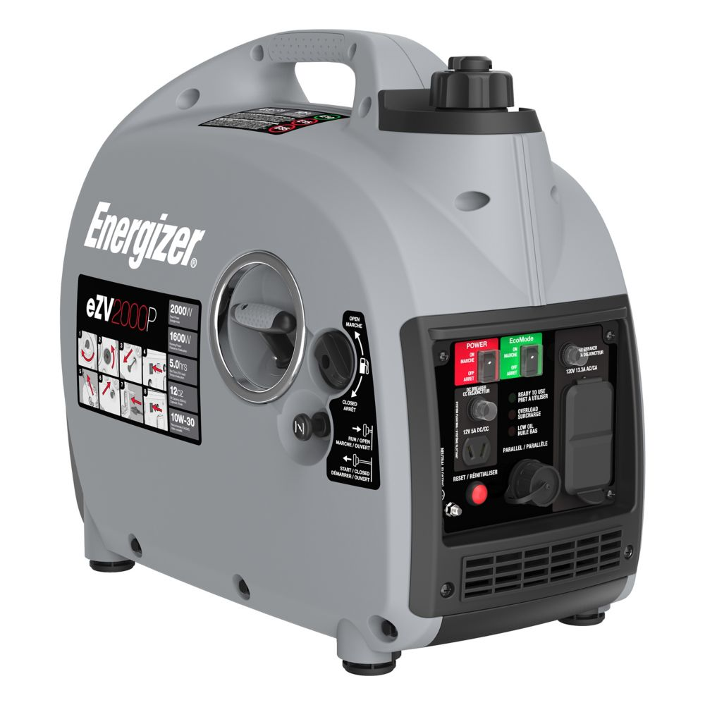 Energizer 2,000W Gas Powered Portable Inverter Generator with Parallel Capability