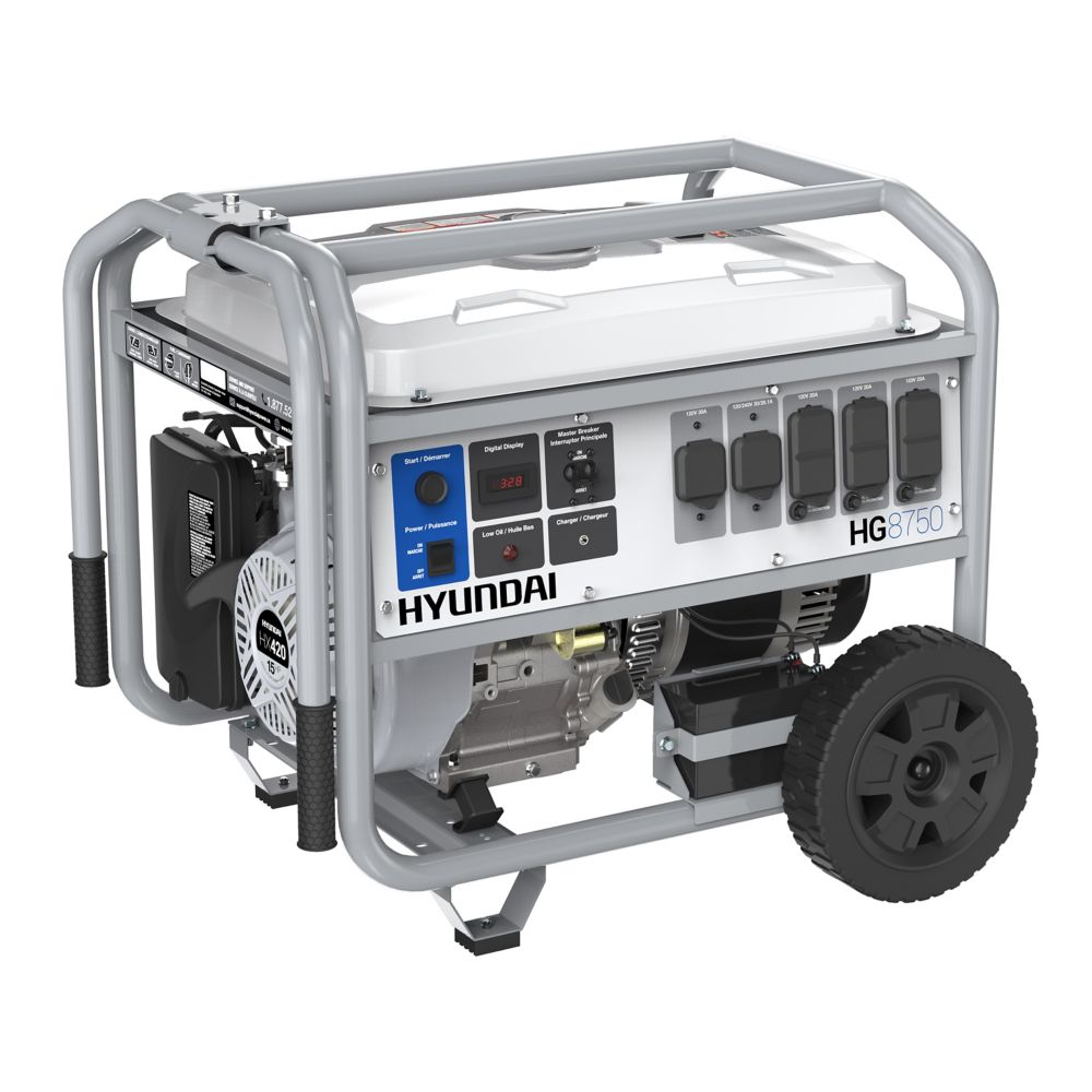 Hyundai 8,750W Electric Start Gas Powered Portable Generator with Wheel Kit