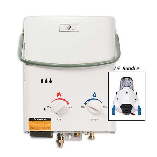 L5 5 LPM Liquid Propane Gas Portable Tankless Water Heater with 12V Flojet Pump