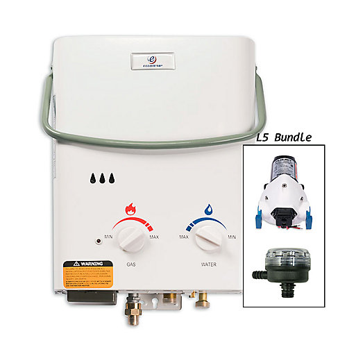 L5 5 LPM Liquid Propane Gas Portable Tankless Water Heater with 12V Flojet Pump & Strainer