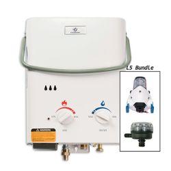 Eccotemp L5 5 LPM Liquid Propane Gas Portable Tankless Water Heater with 12V Flojet Pump & Strainer