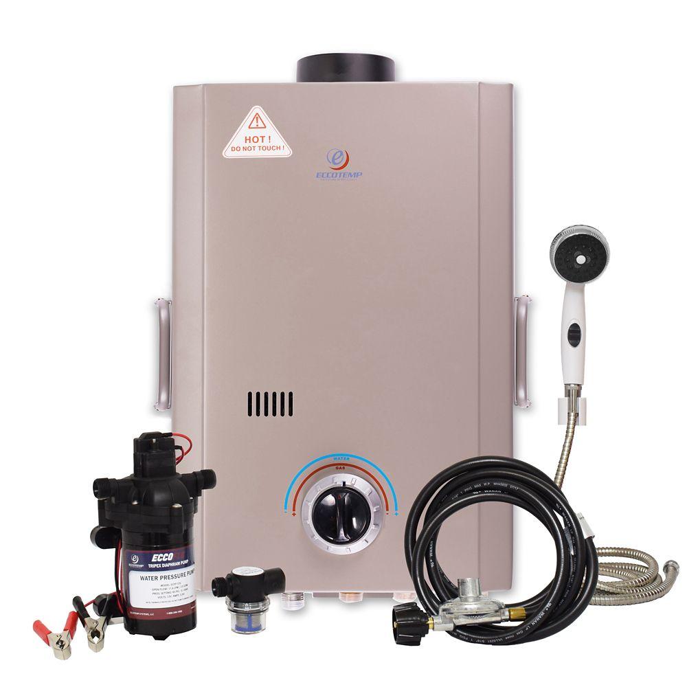 Eccotemp L7 6 LPM Liquid Propane Gas Portable Tankless Water Heater with 12V Flojet Pump & Strainer