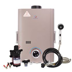 Eccotemp L7 6 LPM Liquid Propane Gas Portable Tankless Water Heater with 12V Flojet Pump & Strainer