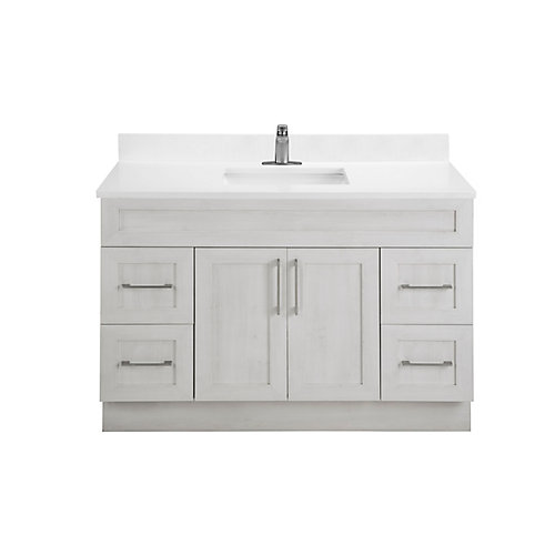 Fogo Harbour 48-inch W 4-Drawer 2-Door Freestanding Vanity in Off-White With Acrylic Top in White