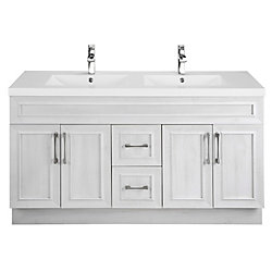 Cutler Kitchen & Bath Fogo Harbour 60-inch W 2-Drawer 4-Door Vanity in Off-White With Acrylic Top in Grey, Double Basins