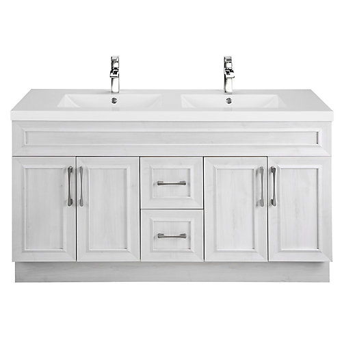 Fogo Harbour 60-inch W 2-Drawer 4-Door Vanity in Off-White With Acrylic Top in Grey, Double Basins