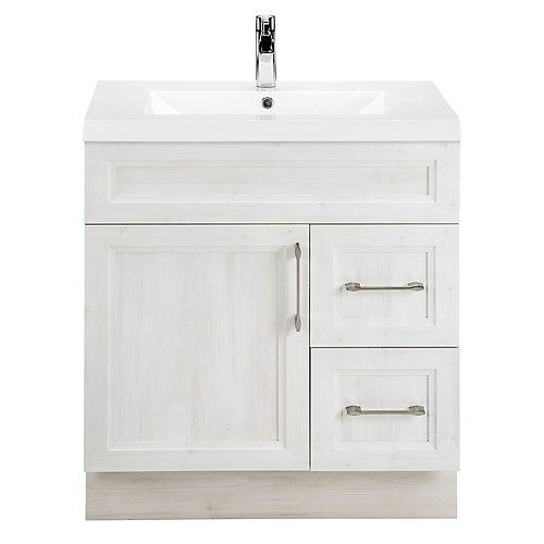 Fogo Harbour 30-inch W 2-Drawer 1-Door Freestanding Vanity in Off-White With Acrylic Top in White