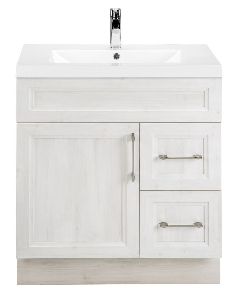 Cutler Kitchen & Bath Fogo Harbour 30-inch W 2-Drawer 1-Door Freestanding Vanity in Off-White With Acrylic Top in White