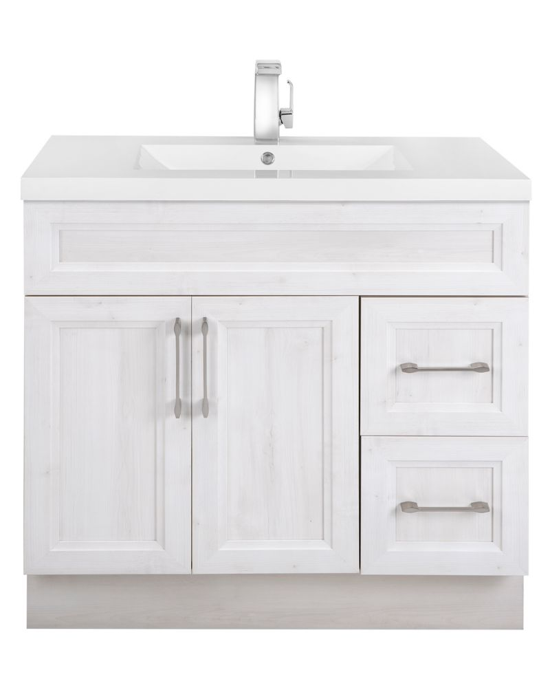 Cutler Kitchen & Bath Fogo Harbour 36-inch W 2-Drawer 2-Door Freestanding Vanity in Off-White With Acrylic Top in White