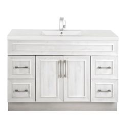Cutler Kitchen & Bath Fogo Harbour 48-inch W 4-Drawer 2-Door Freestanding Vanity in Off-White With Acrylic Top in White