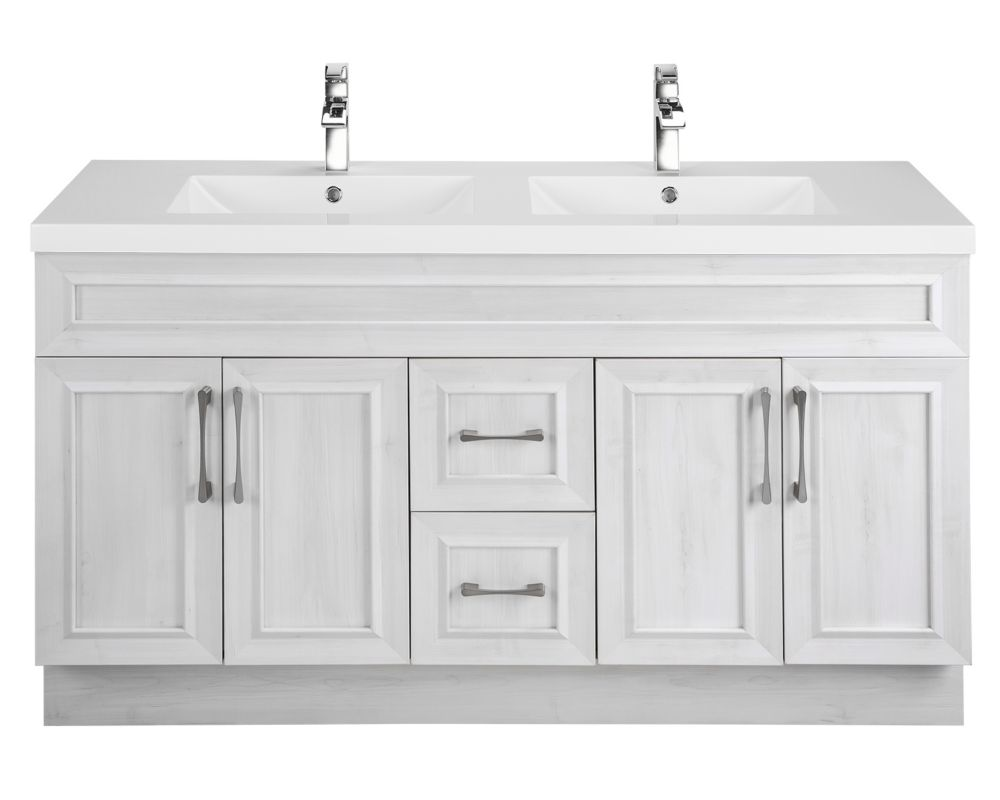 Cutler Kitchen & Bath Fogo Harbour 60-inch W 2-Drawer 4-Door Vanity in Off-White With Acrylic Top in White, Double Basins