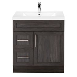 Cutler Kitchen & Bath Karoo Ash 30-inch W 2-Drawer 1-Door Freestanding Vanity in Brown With Acrylic Top in White