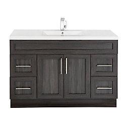 Cutler Kitchen & Bath Karoo Ash 48-inch W 4-Drawer 2-Door Freestanding Vanity in Grey With Acrylic Top in White
