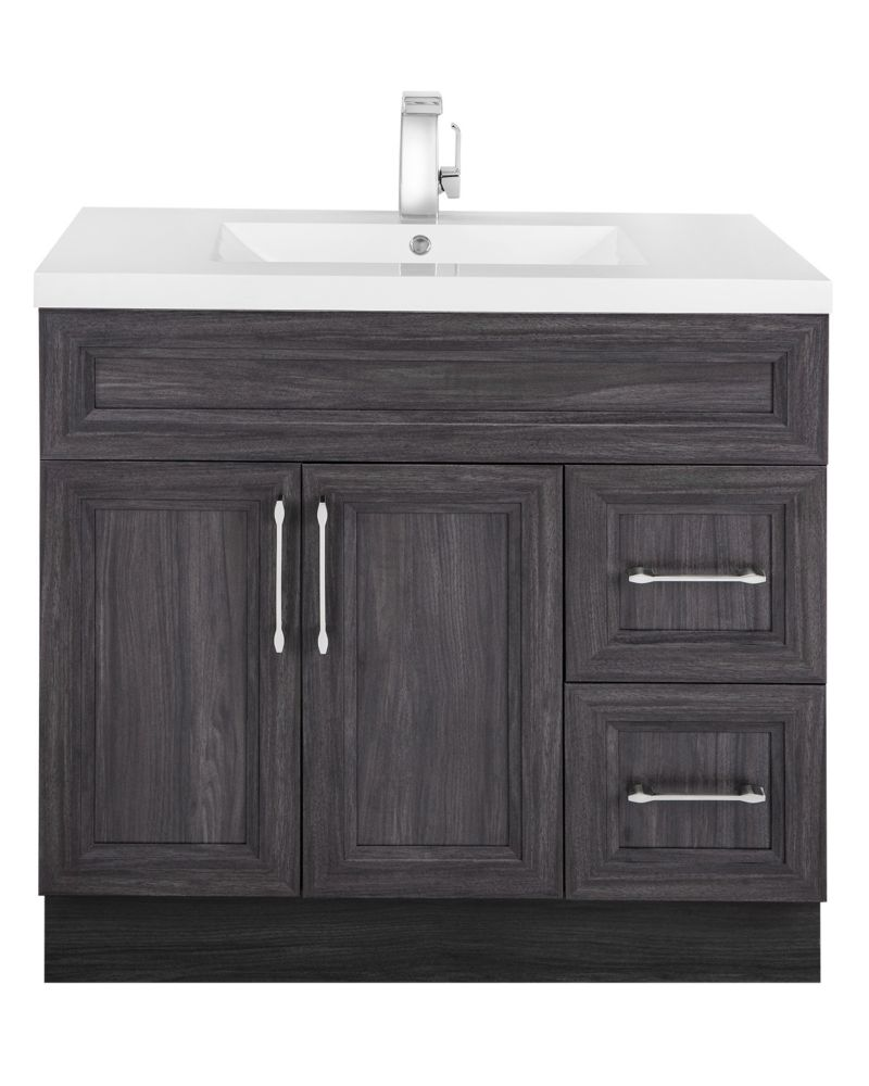 Cutler Kitchen & Bath Karoo Ash 36-inch W 2-Drawer 2-Door Freestanding Vanity in Brown With Acrylic Top in White