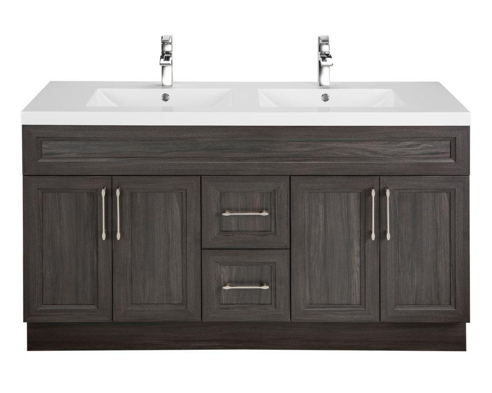 Cutler kitchen bath meuble lavabo karoo ash style bevel shaker 152 4 cm 60 po 4 por - Meuble shaker ...