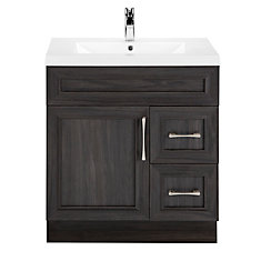 Karoo Ash 30-inch W 2-Drawer 1-Door Freestanding Vanity in Brown With Acrylic Top in White