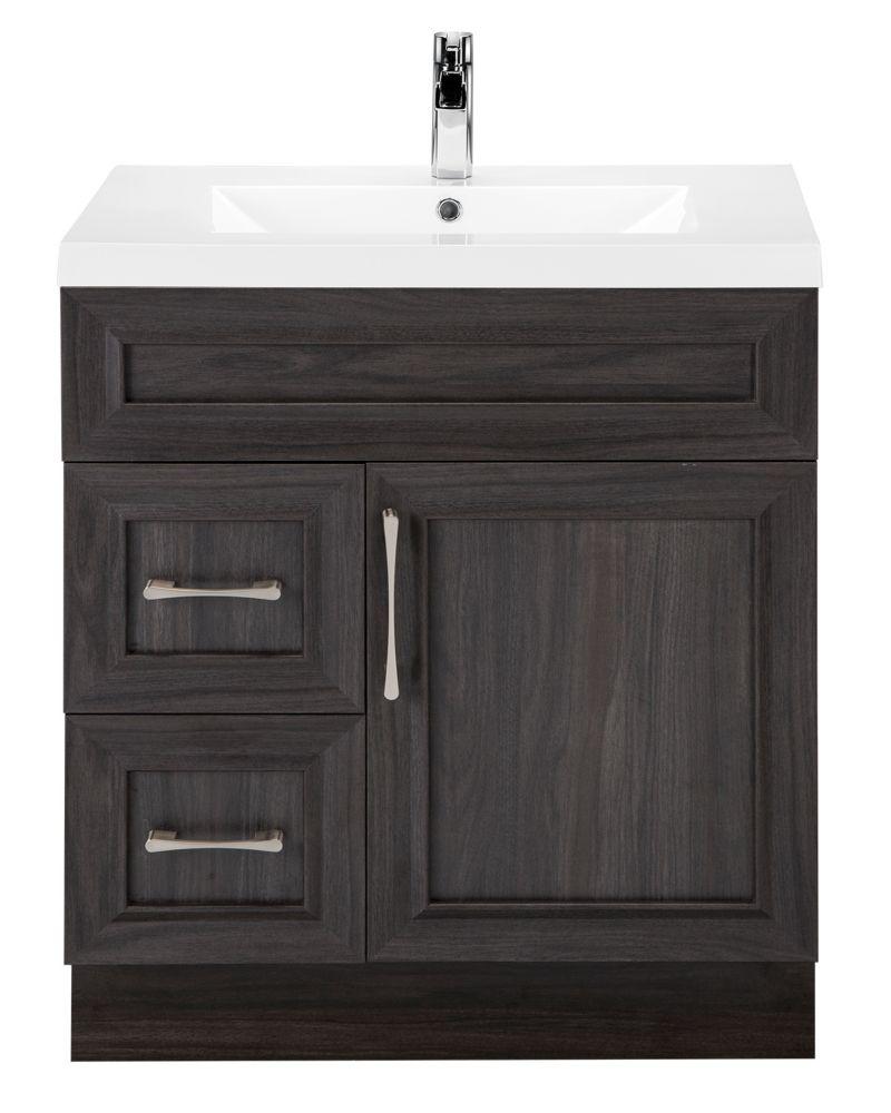 Cutler Kitchen & Bath Karoo Ash 30-inch W 2-Drawer 1-Door Freestanding Vanity in Brown With Acrylic Top in White